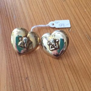 Jewelry - Silver gold plated earrings with angel